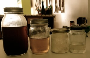 From left to right: Cinnamon Syrup, Jalapeño Syrup, Basic Bar Syrup, Madagascar Vanilla Syrup