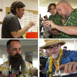 "Clockwise, from upper left: Brian Miller, Martin Cate, Jeff ""Beachbum"" Berry, Paul McGee. Photos by Chris Kridler for the Straw Hat Barmen"