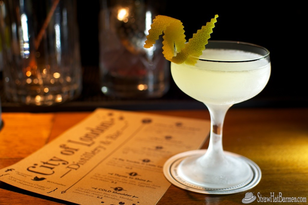 Sunflower at City of London Distillery's bar, with City of London Dry Gin, St. Germain Elderflower Liqueur, Cointreau, Lemon Juice, Pernod Absinthe and a lemon twist. Photo by Chris Kridler, ChrisKridler.com